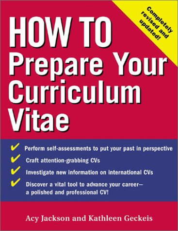 How to Prepare Your Curriculum Vitae  3rd 2003 (Revised) edition cover