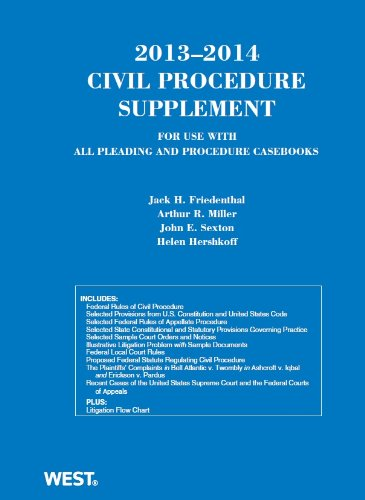 Civil Procedure 2013-2014: Supplement for Use With All Pleading and Procedure Casebooks  2013 9780314288448 Front Cover