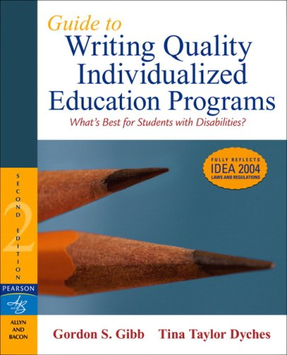 Guide to Writing Quality Individualized Education Programs  2nd 2007 (Revised) edition cover