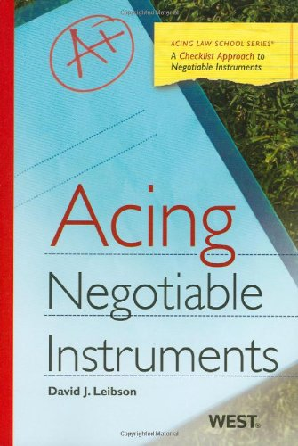 Negotiable Instruments   2010 9780314911452 Front Cover
