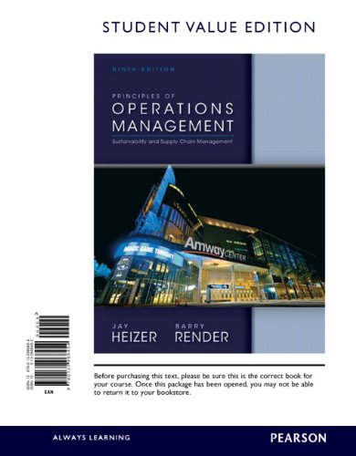 Principles of Operations Management, Student Value Edition  9th 2014 edition cover