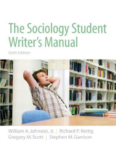 Sociology Student Writer's Manual  6th 2010 edition cover