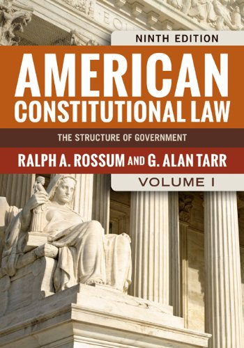 American Constitutional Law The Structure of Government 9th 2014 edition cover