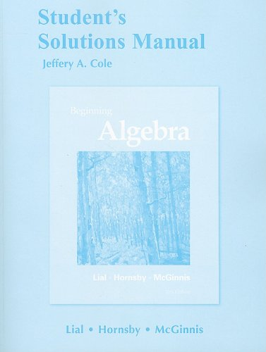 Student's Solutions Manual for Beginning Algebra  11th 2012 edition cover