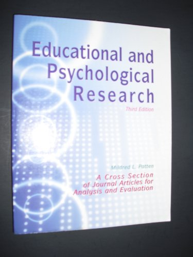 Educational and Psychological Research-3rd Ed A Cross Section of Journal Articles for Analysis and Evaluation 3rd 2002 (Revised) edition cover