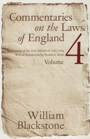 Commentaries on the Laws of England, 1765-1769  Facsimile  9780226055459 Front Cover