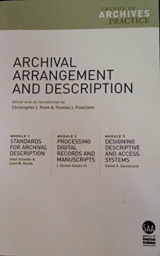 ARCHIVAL ARRANGEMENT+DESCRIPTI N/A edition cover