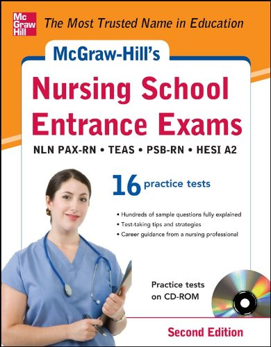 Nursing School Entrance Exams 16 Practise Tests 2nd 2013 9780071811460 Front Cover