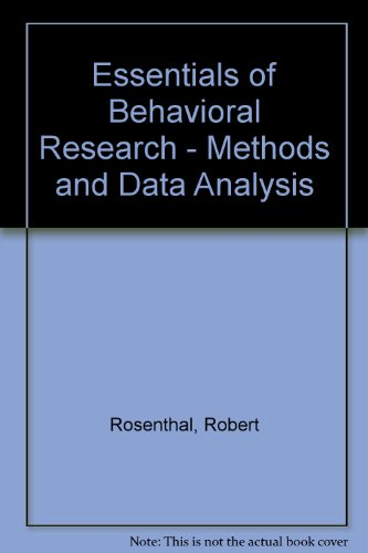 Essentials of Behavioral Research: Methods and Data Analysis  1991 edition cover