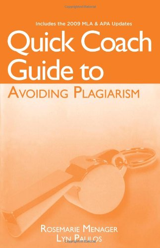 Quick Coach Guide to Avoiding Plagiarism  3rd 2011 (Revised) 9781111342463 Front Cover