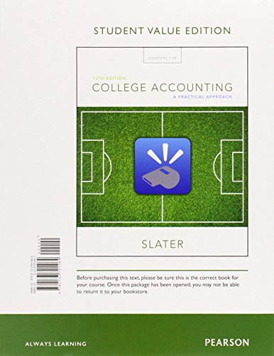 College Accounting: A Practical Approach; Student Value Edition  2015 9780133791464 Front Cover