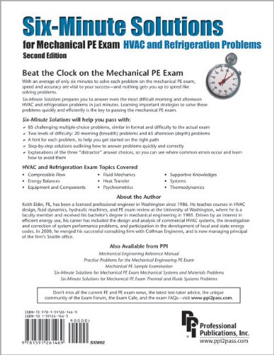 Six-Minute Solutions for Mechanical PE Exam HVAC and Refrigeration Problems  2nd edition cover
