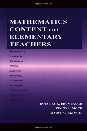 Mathematics Content for Elementary Teachers   2004 edition cover