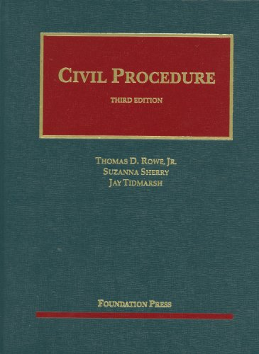 Rowe, Sherry and Tidmarsh's Civil Procedure, 3d  3rd (Revised) edition cover