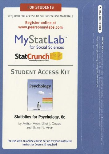 Statistics for Psychology  6th 2013 (Revised) edition cover