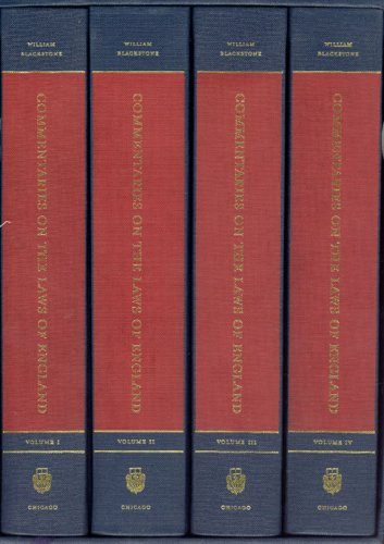 Commentaries on the Laws of England, 1765-1769   2002 9780226055473 Front Cover