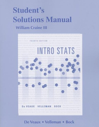 Student's Solutions Manual, Intro Stats  4th 2014 edition cover