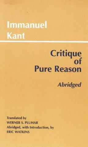 Critique of Pure Reason   1999 (Abridged) edition cover