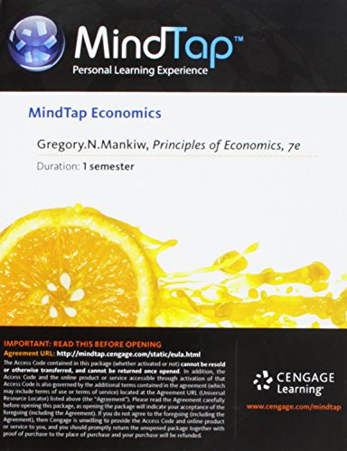 MindTap? Economics 1-Semester Printed Access Card for Mankiw's Principles of Economics, 7th  7th 9781285852485 Front Cover
