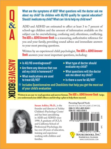 ADD and ADHD Answer Book Professional Answers to 275 of the Top Questions Parents Ask  2005 edition cover