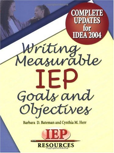 Writing Measurable IEP Goals and Objectives   2003 edition cover