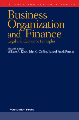 Klein, Coffee and Partnoy's Business Organization and Finance, Legal and Economic Principles  11th 2010 (Revised) edition cover
