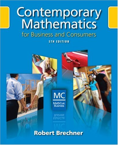 Contemporary Mathematics for Business and Consumers  5th 2009 (Revised) edition cover