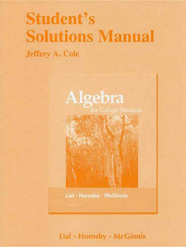 Student's Solutions Manual for Algebra for College Students  7th 2012 edition cover