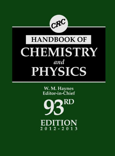 CRC Handbook of Chemistry and Physics  93rd 2012 (Revised) 9781439880494 Front Cover