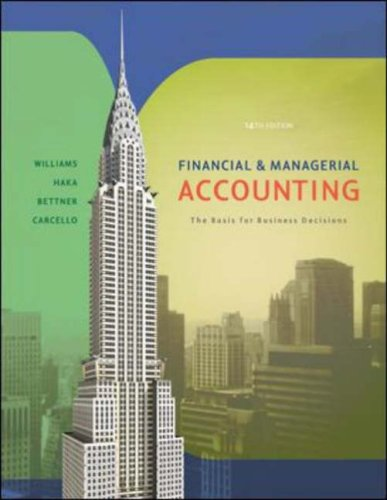 Financial and Managerial Accounting The Basis for Business Decisions 14th 2008 (Revised) 9780072996500 Front Cover