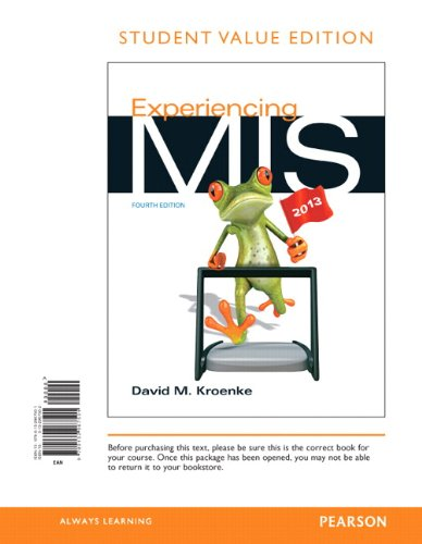Experiencing MIS, Student Value Edition  4th 2014 edition cover