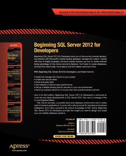 Beginning SQL Server 2012 for Developers  3rd 2012 edition cover