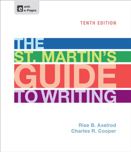 The St. Martin's Guide to Writing:   2013 edition cover