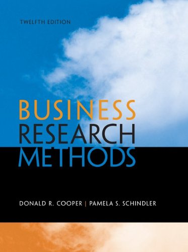 Business Research Methods  12th 2014 9780073521503 Front Cover