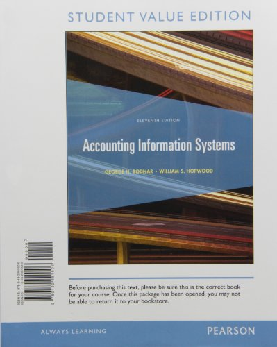 Accounting Information Systems, Student Value Edition  11th 2013 edition cover