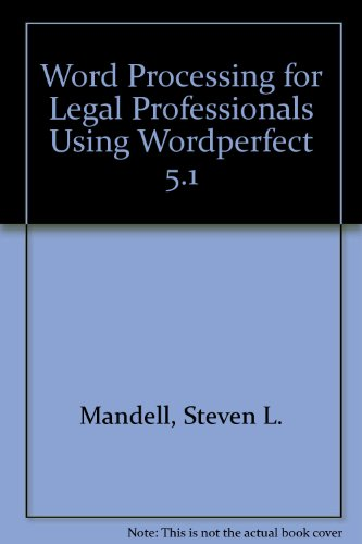 Word Processing for Legal Professionals Using Wordperfect 5.1   1995 9780314052506 Front Cover