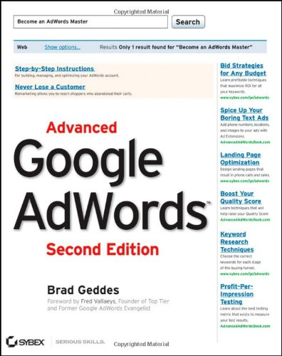Advanced Google AdWords  2nd 2012 edition cover