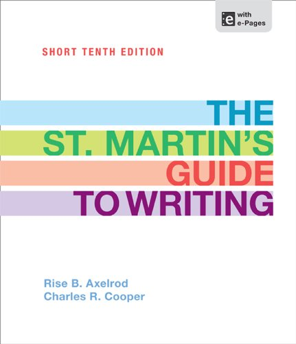 St. Martin's Guide to Writing Short Edition  10th 2013 edition cover