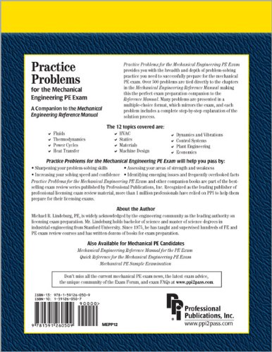 Practice Problems for the Mechanical Engineering PE Exam A Companion to the Mechanical Engineering Reference Manual 12th 2006 edition cover