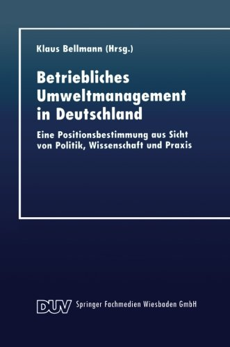 Betriebliches Umweltmanagement in Deutschland   1999 9783824404513 Front Cover