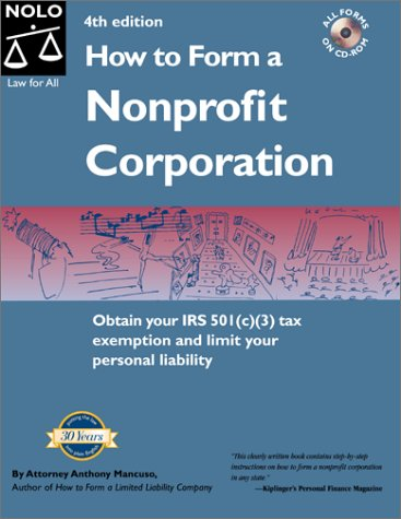 How to Form a Nonprofit Corporation  4th 1998 edition cover