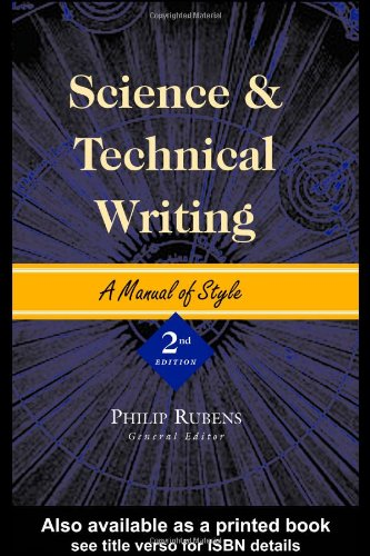 Science and Technical Writing A Manual of Style 2nd 2001 (Revised) edition cover