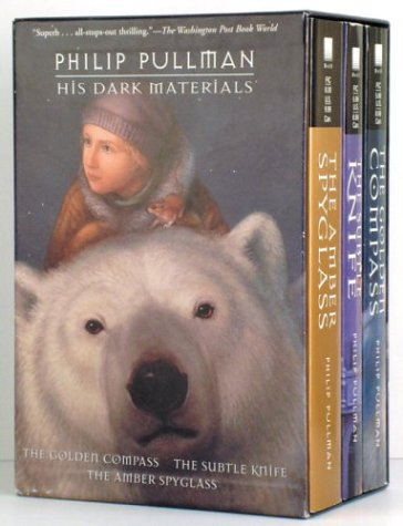His Dark Materials The Golden Compass - The Subtle Knife - The Amber Spyglass  1996 edition cover