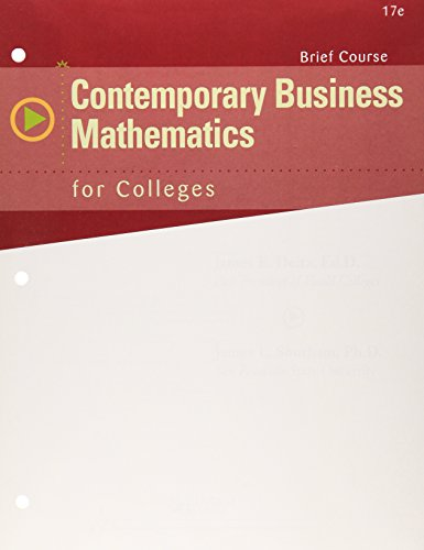 Contemporary Business Mathematics for Colleges, Brief Course  17th edition cover