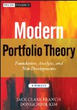 Modern Portfolio Theory + Website Foundations, Analysis, and New Developments  2012 edition cover
