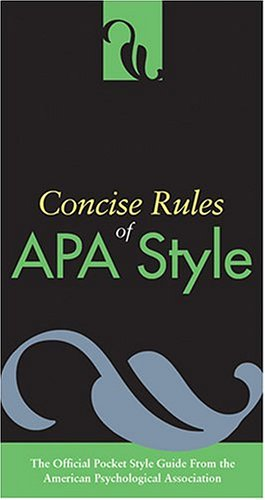 Concise Rules of APA Style   2005 edition cover