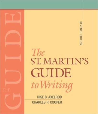 St. Martin's Guide to Writing 7th 2004 edition cover