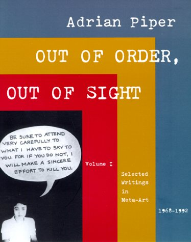 Out of Order, Out of Sight Selected Writings in Meta-Art, 1968-1992  1999 edition cover