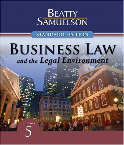 Business Law and the Legal Environment, Standard Edition  5th 2010 edition cover