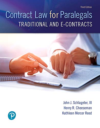 Contract Law for Paralegals: Traditional and E-contracts  2019 9780133822526 Front Cover